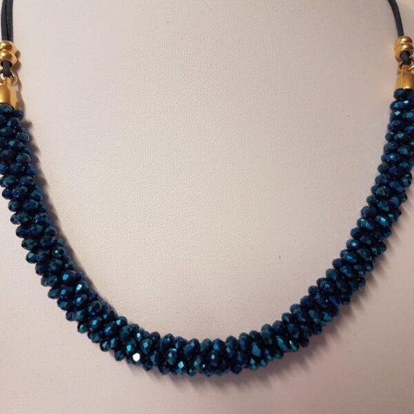Kumi Design Ketting donkerblauw metallic goud