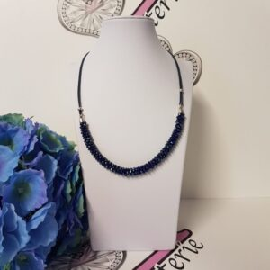 Kumi Design Ketting kobaltblauw metallic zilver