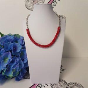 Kumi Design Ketting rood zilver