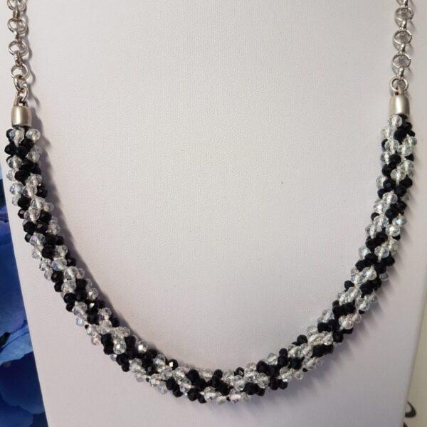 Kumi Design Ketting zwart wit zilver